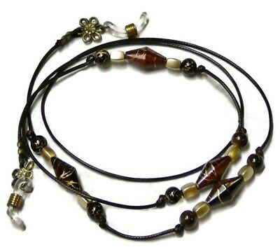 Reading eye glasses, spectacle chain holder lanyard  Brown and Gold on Cord