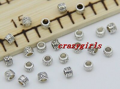 200pcs 4mm Charms Square Tibet Silver Beads Spacer DIY Jewelry Bracelet A7595