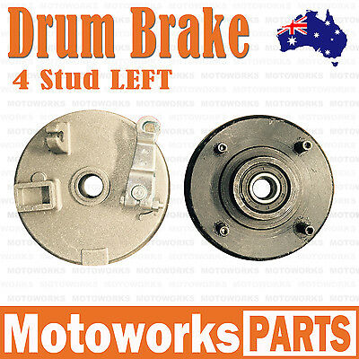 LEFT 4 Stud Drum Brake Housing Wheel Hub + Shoes FOR ATV QUAD Bike Gokart Buggy