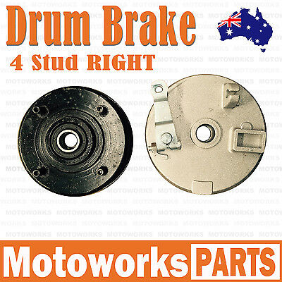 RIGHT 4 Stud Drum Brake Housing Wheel Hub + Shoes FOR ATV QUAD Bike Gokart Buggy