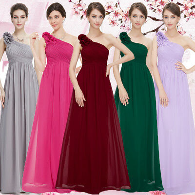 US Long Womens Bridesmaid Dresses Chiffon One Shoulder Homecoming Gown 08237