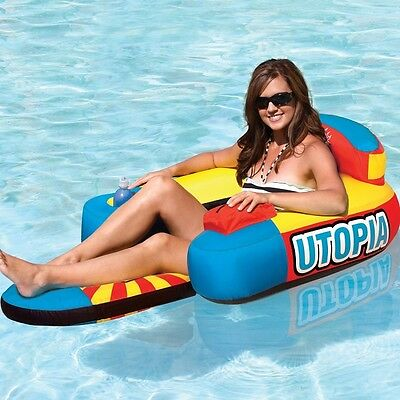 Utopia Inflatable Floating Arm Chair Lounger Tube for Beach Pool Watersports