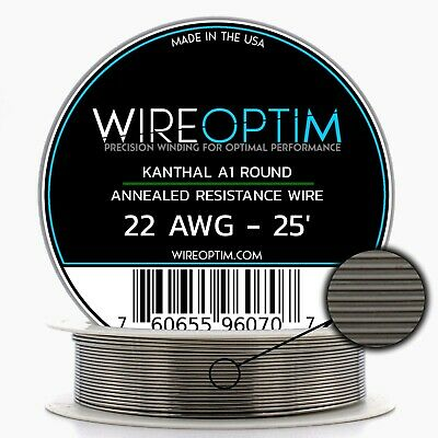 Kanthal 22 AWG Wire 25' Roll 0.64mm , 1.31 Ohms/ft Resistance