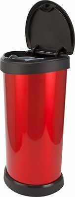 Beautiful Curver 40 Litre Deco Touch Top Lid Kitchen Bin - Red Colour