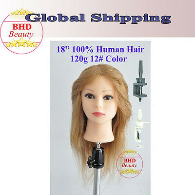 """BHD 18"""" 100% Human Hair Cosmetology Training Practice Mannequin Head Blonde"""