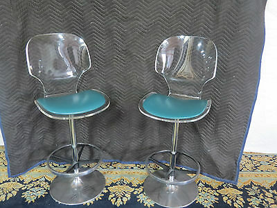 Retro Pair Of Lucite Bar Stools Hollywood Fabulous Hill Manufact