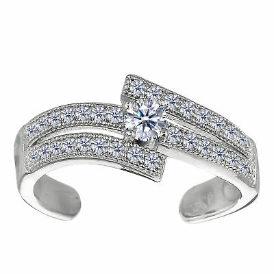 925 Sterling Silver Rhodium Plated Micropave CZ Cuff Style Adjustable Toe Ring