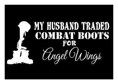 My Husband Traded Combat Boots 4 Angel Wings 4X9 Military Memorial Decal Sticker