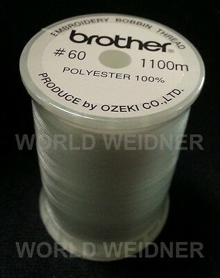 Brother SAEBT White Embroidery Bobbin Thread 1200 Yards Spool 60 Weight