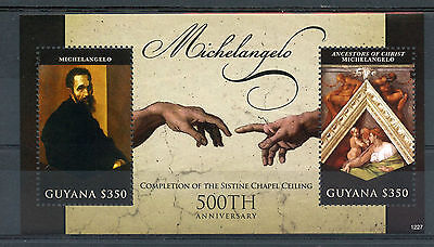 Guyana 2012 MNH Michelangelo Completion Sistine Chapel Ceiling 500th Ann 2v S/S