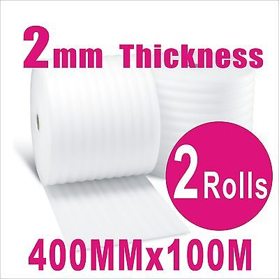 2Rolls 400mm x 100m Polyfoam 2mm Thick Packing Foam Wrap Roll 40cm