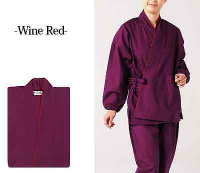Japanese SAMUE Women's Traditional work Kimono wear set Wine Red from JAPAN