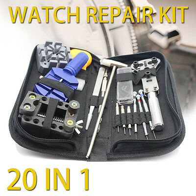 20pcs Watchmaker Watch Link Pin Remover Opener Repair Tool Kit Set with CASE OZ