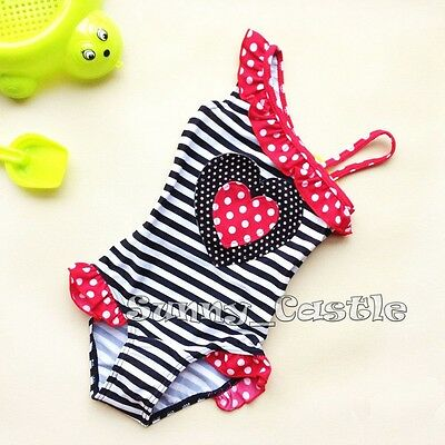 Girl Sweet Heart One-Piece Swimwear Toddler Kid Swimsuit Child Bathing Suit