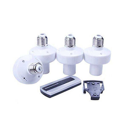 4pcs Wireless E27 Screw Remote Control Light Lamp Bulb Holder Cap Socket Switch