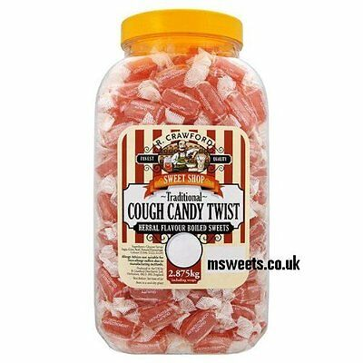 R Crawford Cough Candy Twist Traditional Jar Sweets - 2.6kg