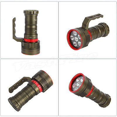 Rechargeable 10000LM 6X CREE XM-L2 LED Diving Flashlight Torch Lamp Underwater