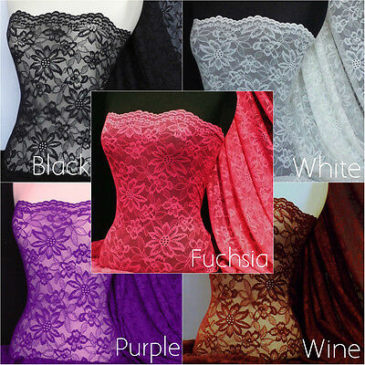 Scalloped Flower 4 Way Stretch Lace Fabric Material Q891
