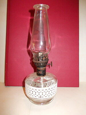 Very nice little table oil lamp glass and metal band