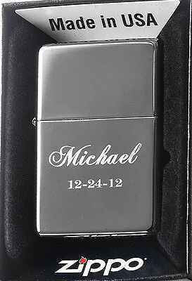 Zippo Personalized Custom Engraved Lighter, Black Ice Finish, New Gift Box 150