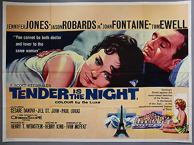 Tender is the Night Original British Quad Film poster 1961 Tom Chantrell art
