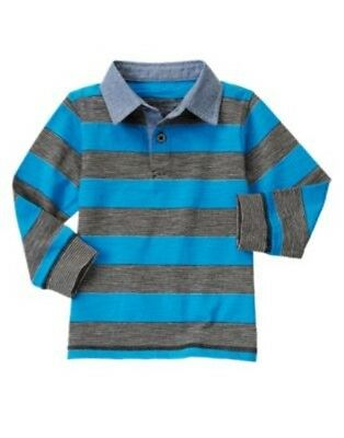 Gymboree Star Brights Blue Stripe L/s Polo Top 6 12 18 24 2T 3T 4T 5Tnwt