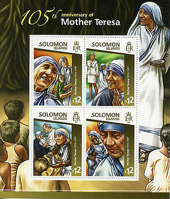 Solomon Islands 2015 MNH Mother Teresa 105th Anniv 4v M/S Popes