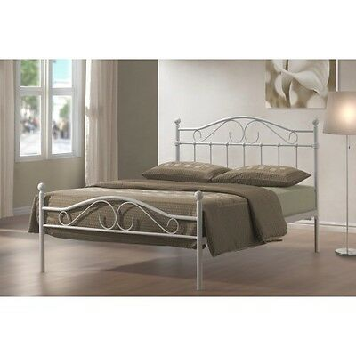 4Ft6 Double Metal Bed Frame White  Bedroom Furniture On Special Discount Offer