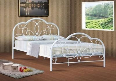 Alexis Double 4ft6,4ft Small Double Metal Bed Frame Bedstead in Soft White