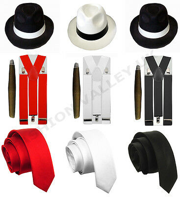 Mens Gangster Mafia Pimp Adult Fancy Dress Tie Hat Cigar Braces 1920's Outfit