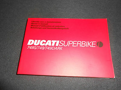Brand New Genuine Ducati 749/749S/749Dark Owners Manual 91371141A