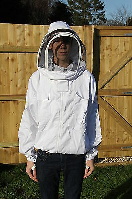 White Beekeeping Bee Jacket with Fencing Veil - 6 Pockets, Front Zip - ALL SIZES
