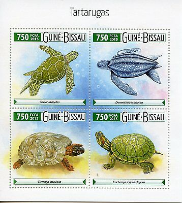 Guinea-Bissau 2015 MNH Turtles 4v M/S Reptiles Chelonia Tartarugas Stamps