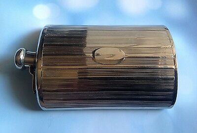Antique Germany Silver Plate Flask with Faux Suede Carrying Pouch