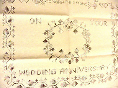 Pre Printed Stamped Traced Wedding Anniversary Cross Stitch Sampler