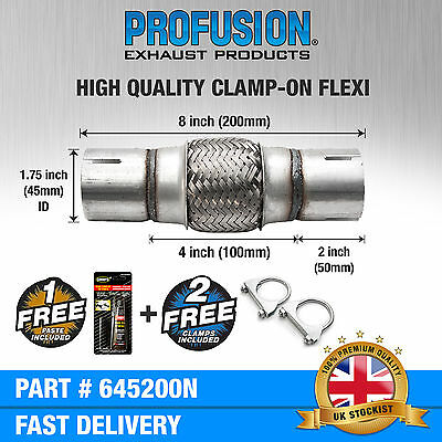 """Clamp On 1.75"""" x 8"""" inch Exhaust Flexible Joint Repair Flexi Pipe tube Flex"""