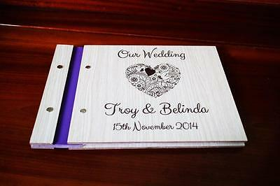 personalised guestbook happy couple unique decorateion gift wood guest book a5