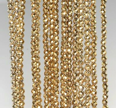 3Mm 18K Gold Hematite Gemstone Faceted Round 3Mm Loose Beads 15.5""