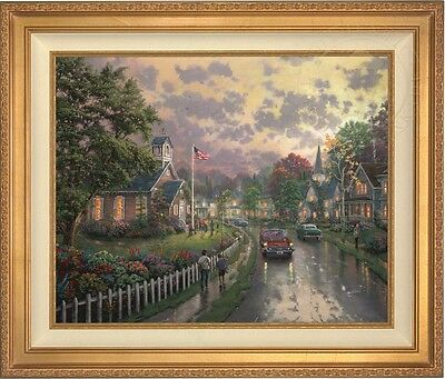 Thomas Kinkade Studios Morning Pledge 24 x 30 LE G/P Canvas (Burl Frame)