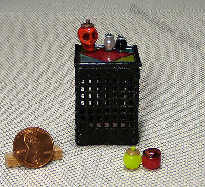 Artisan Dollhouse Miniature Gothic Stained Glass End Table And Potion Bottles