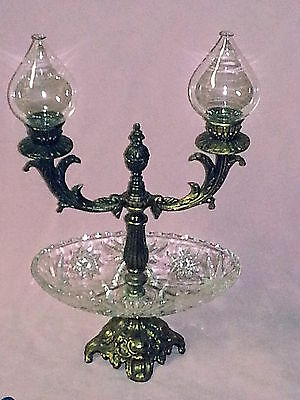 Bronze Metal Candleabra Dual Arm Interchangeable Candle or Oil Burning Globes