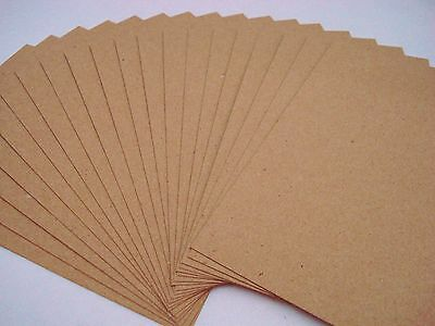 20 Kraft Recycled A6 Card Sheets 200gsm Cardmaking Invitation Craft FREE POSTAGE