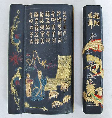 "5.6"" Chinese Painted Wrist Rest with Scholar & Poem + 5.45"" Ink Cake with Dragon"