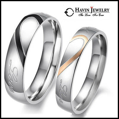 Tantanium Stainless Steel Couple Wedding Engagement Love Heart Band Ring Set