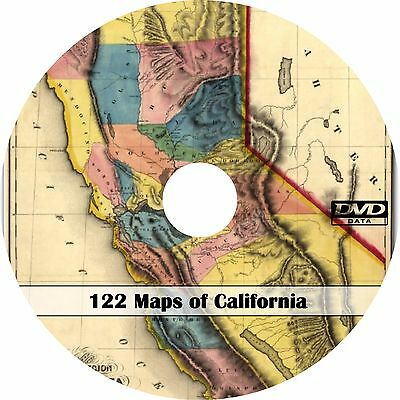 122 Maps of California CA - Map History Genealogy on DVD
