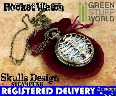SteamPunk SKULLS Pocketwatch - vintage jewellery antique chain necklace pocket