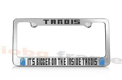 Caps Glossy Black Plate Frame Dr Who Fans Whovian On Board It/'s Bigger On The.