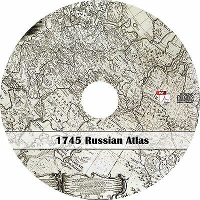 1745 Russian Atlas - 20 Historic Maps of Russia - Book on CD