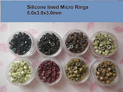 1000pcs silicone micro beads rings links for stick I-tip tip hair extension
