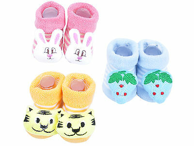 3 Pairs Cartoon Newborn Baby Girl Boy Anti-slip Socks Slipper Shoes Boots